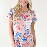 Favorite Pocket Top ~ Pink Floral