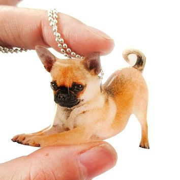 Realistic Chihuahua Puppy Dog in Playful Pose Shaped Pendant Necklace | Handmade
