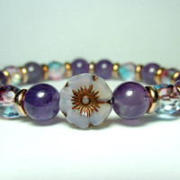 Amethyst Flower Bracelet, Czech Flower Bracelet, Nature Bracelet, Ladies Beaded Bracelet, Purple Bracelet, Czech Glass Bracelet