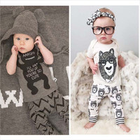 2016 summer  style 1set infant clothes baby clothing sets boy Cotton little monsters  short sleeve+pants 2pcs baby boy clothes