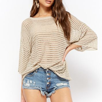 Sheer Open-Knit Top