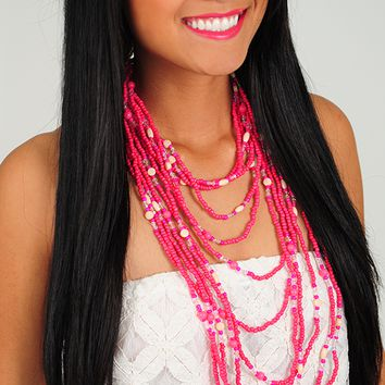 Up To Bead Necklace: Hot Pink - One