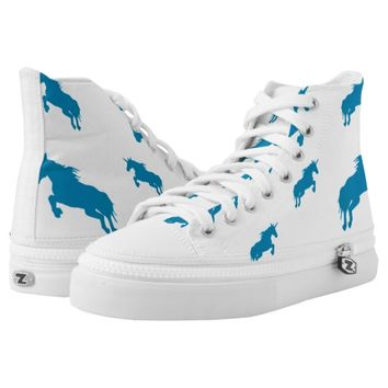 Fairytale world, unicorn blue and white pattern High-Top sneakers