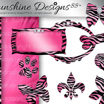 Zebra Frame Icons Scrapbook Kit Digital Download