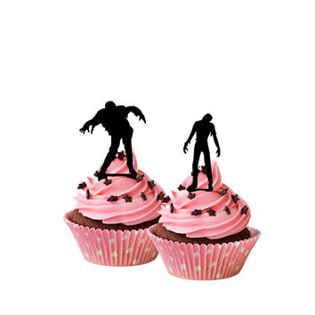 set of 6 acrylic cupcake toppers, zombie cupcake topper, cupcake decor, silhouette cake topper, funny cake topper, party cake decor