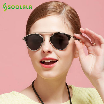 SOOLALA Vintage Cat Eye Sunglasses Mirror female Women Large Retro Steampunk Round Circle Horm Rim Polarized Aviator Sunglasses