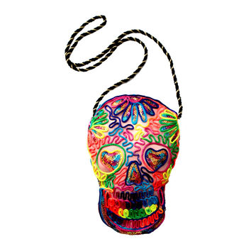 Day of the Dead Skull Disco Purse Pink