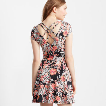 Watercolor Floral Strappy-Back Skater Dress - Aeropostale