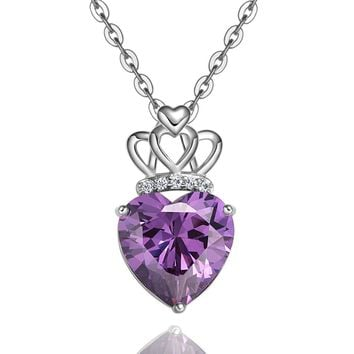 Magical Triple Lucky Princess Powers Hearts Love Amulet Silver-Tone Royal Purple Crystal Necklace