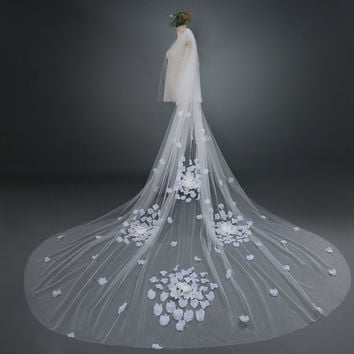 2015 Bridal Veil White/Ivory 3m Long Wedding Veil Mantilla Wedding Accessories With Lace Flowers beadwork