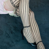 Sock Dreams  Socks  Thigh Highs  Sheer Pinstriped Thigh Highs with Bows