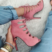 New Design Women Pink Suede Cross Strap Decoration Stiletto Heels Stylish Peep Toe Dress Sandals Classy Back Zip Sandal Booties
