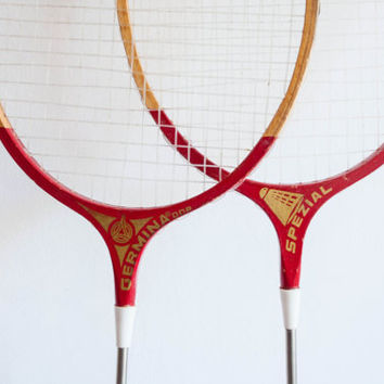 Vintage Badminton Rackets, Sports Equipment, Yard Games, Summer Picnic, Wooden Raquetes, Red and Yellow, 4th of July, Man Cave, Memorial Day