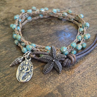 "Starfish & Mermaid Multi Wrap Crochet, Leather Bracelet, Anklet, Necklace ""Beach Chic"""
