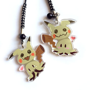 Reversible Mimikyu Acrylic Charm - Double-Sided Ghost Pokemon Keychain