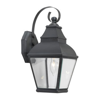 5214-C Bristol 1 Light Outdoor Wall Lantern In Charcoal And Beveled Glass - Free Shipping!