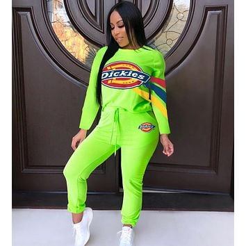 Dickies Trending Women Casual Print Long Sleeve Sweater Pants Trousers Sport Set Two-Piece Sportswear Green