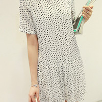 White Polka Dot Chiffon Mini Dress
