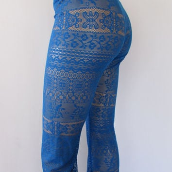 Lace Pants High Waist  or Fold over Low festival dance lounge Blue Lace Pants Yoga S/M