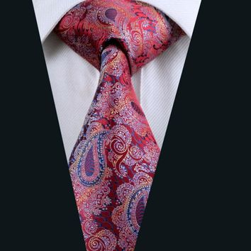 *Hot Men`s Tie 100% Silk Paisley Jacquard Woven Necktie Gravata For Men Formal Wedding Party Business Free Postage LD-552