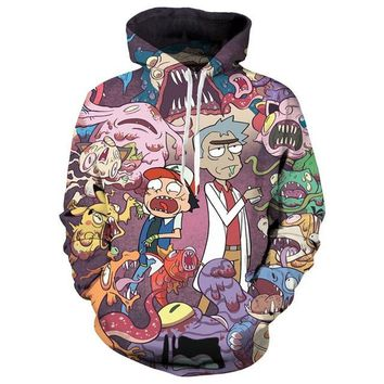 Rick And Morty Funny Aliens Monsters Hoodie