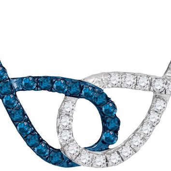 10kt White Gold Womens Round Blue Colored Diamond Double Linked Infinity Pendant Necklace 1/3 Cttw