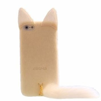 Cute Plush Cat Phone Case For iPhone 5/5S (White)