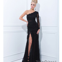 (PRE-ORDER) Tony Bowls 2014 Prom Dresses - Black Mesh & Sequin One Shoulder Prom Gown