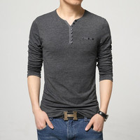 2016 Fashion Mens Slim Fit Long Sleeve T-Shirts Stylish Luxury Men V Neck Cotton T Shirt Tops Tee