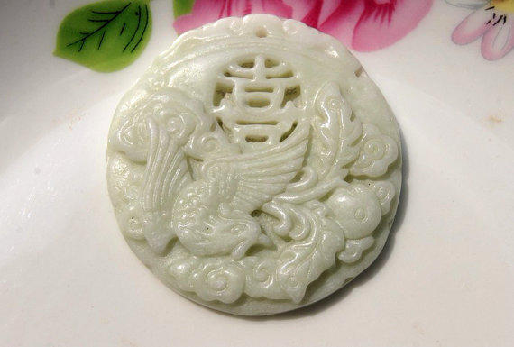 Free Shipping - Hand-carved 100% Natural white jadeite jade Phoenix Charm pendant necklace us1234567