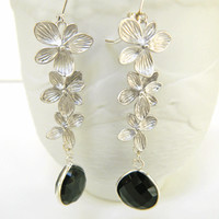 Matte Silver Orchid Dangle Earrings with Bezel Set Faceted Onyx