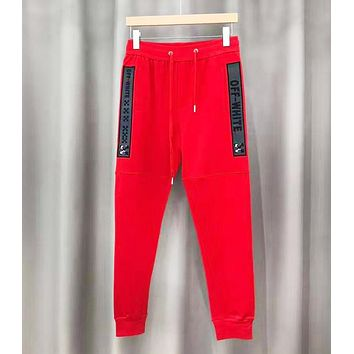 Off White Fashion New Reflective Letter Print Sports Leisure Women Men Pants Red