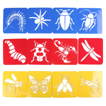 12pcs Children Oppssed Painting Learning Tool Animal Drawing Kids Template Stencil Plastic Toy Birthday Gift For Student