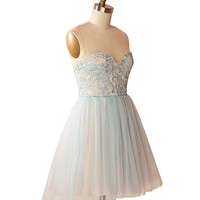 Women's Illusion Short Tulle Dress Homecoming Dress With Lac Bodice