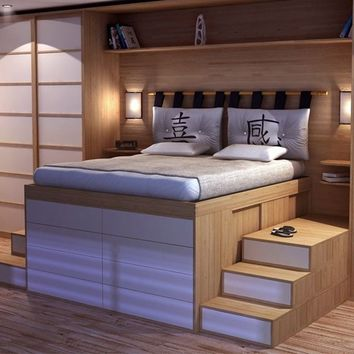 Wooden double bed with cabinet IMPERO by Cinius | design Fabio Fenili