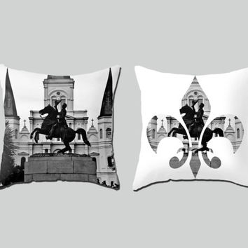 New Orleans Pillow Set throw black white home decor cushion fine art photo living room bedroom furnishing Nola Jackson Square fleur de lis