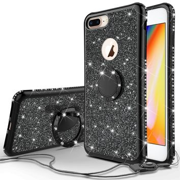 Glitter Cute Phone Case Girls Kickstand Compatible for Apple iPhone 8 Plus Case,Bling Diamond Bumper Ring Stand Soft Sparkly iPhone 8 Plus - Black