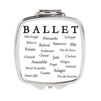 Ballet Words Square Compact Mirror