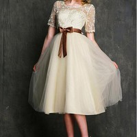 [57.78] Charming Tulle Lace Short Sleeves Tea-Length Bridesmaid Dresses with Bowknot Sash - Dressilyme.com