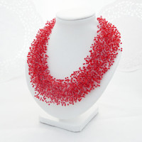 SALE Red necklace multistrand necklace Bead crochet necklace seed beads air Necklace mom day gift