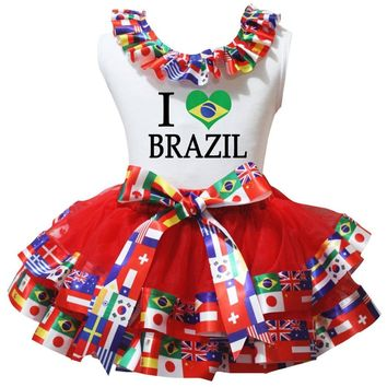 Soccer Football World Cup Dress Brazil Spain Russia Argentina Flag Heart White Shirt Red Petal Skirt Girl Outfit Nb-8y LKPO0073