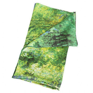Silk Scarf with motif JAPANESE BRIDGE by Claude Monet  silk screened by hand