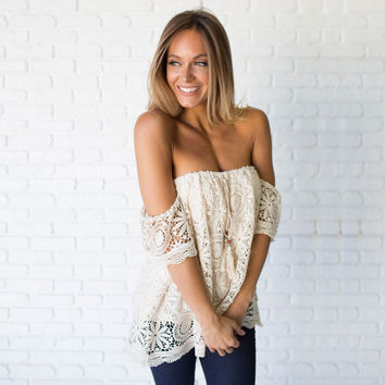 Cream Of The Crop Crochet Off Shoulder Top