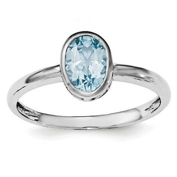 Sterling Silver Blue Topaz Oval Bezel-Set Filigree Scroll Ring