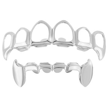 14k White Finish fangs Top Bottom Grillz Sale