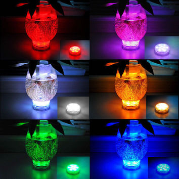 10 LED Multicolor Submersible Waterproof Party Tea Floralytes Vase Base Led Night Light Bright Lamp Remote Home Decor Veilleuse