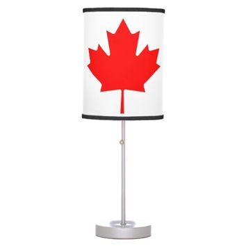 Patriotic table lamp with Flag of Canada