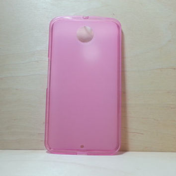 Google Nexus 6 Soft TPU translucent Color Case Protective Silicone Back Case Cover - Pink