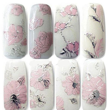 Nail Art Stickers Flowers 3D 4 sheets Manicure JARFF