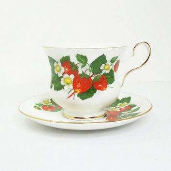 Royal Grafton Strawberry teacup tea cup and saucer - English bone china - Made in England